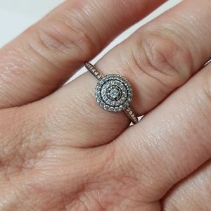 🖤 Sterling Silver Engagement Wedding Ring Size 9